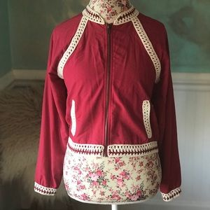 Free People Zip Up Jacket with Crochet Size Small
